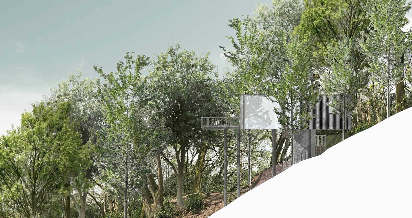 LVIA, L.V.I.A. Landscape And Visual Impact Assessment was done on the unique gara lodge treehouse design, Devon.